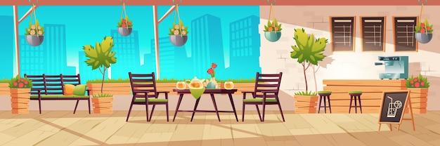 Letni taras, zewnętrzna kawiarnia miejska, kawiarnia z drewnianym stołem, krzesłami i roślinami doniczkowymi, tablica menu na tle widoku miasta. uliczne napoje lub przekąski kafeteria, ilustracja kreskówka