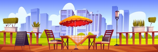 Letni taras, zewnętrzna kawiarnia miejska, kawiarnia