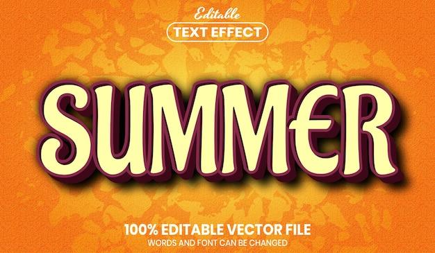 Letni tekst, edytowalny efekt tekstowy w stylu czcionki
