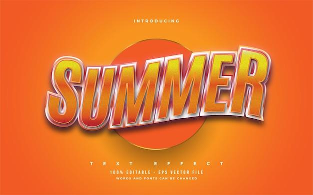 Letni tekst w odważnym pomarańczowym kolorze z wytłoczonym i falistym efektem 3d. edytowalny efekt stylu tekstu