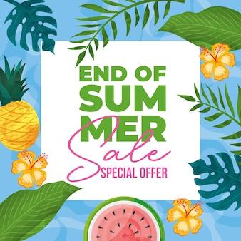 Letni transparent z tropikalnymi owocami i liśćmi. letnia wyprzedaż .ilustracja wektorowa