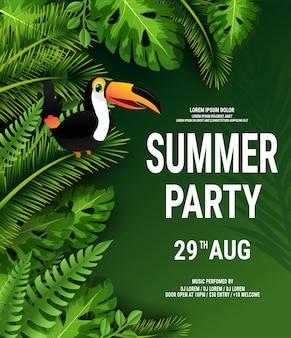 Letni tropikalny plakat z ciemnozielonymi liśćmi palmowymi i tukanem