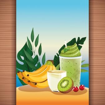 Letni tropikalny sok owocowy
