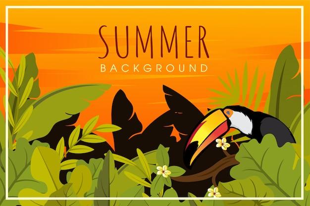 Letni tukan widok pomarańczowy i las liści