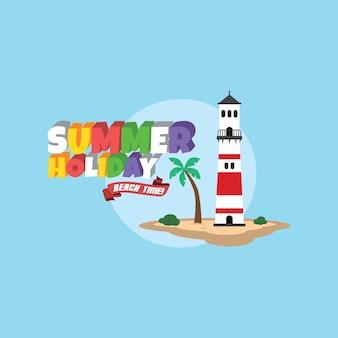 Letni urlop retro kreskówka tematu