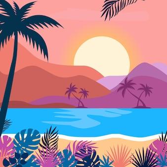 Letni widok na plażę z morzem i górami