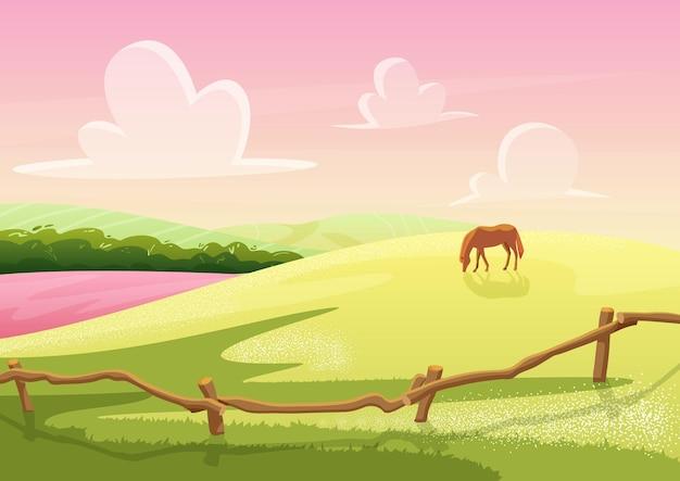 Letni widok wzgórz wiejskiej polany z pasącym się koniem na krajobrazie gry polowej