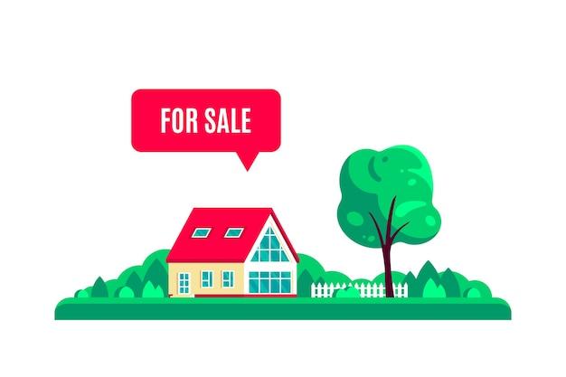 Letni (wiosna) krajobraz z drzewami, dworek i znak na sprzedaż na białym tle.
