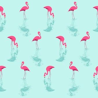 Letni wzór flamingów i wody