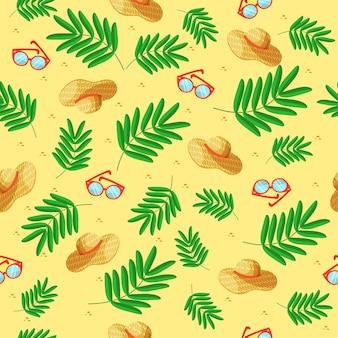 Letni wzór kapelusze okulary na żółtym tle z zielonymi liśćmi. słoneczny ornament z letnimi akcesoriami do tekstyliów, tła, odzieży, okładki notebooka.
