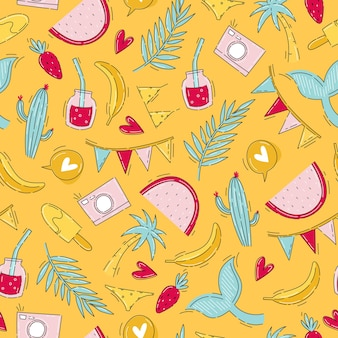 Letni wzór owocowy z kolorowymi elementami wakacyjnymi w stylu bazgroły