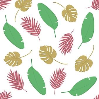 Letni wzór tła z tropikalną palmą liści