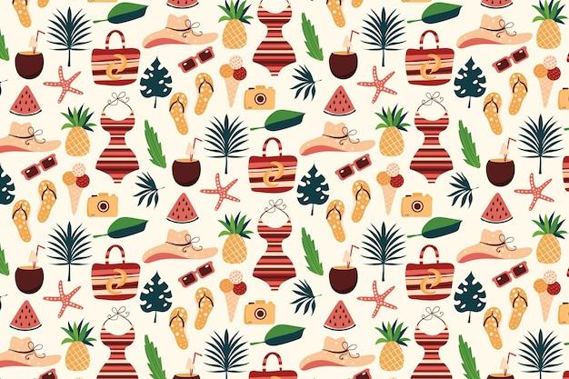 Letni wzór z niezbędnikami plażowymi i ananasem