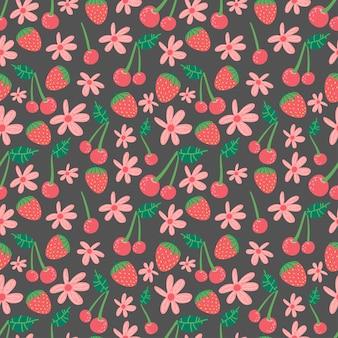 Letni wzór z owocami jagodowymi i kwiatami na papier dekoracyjny z tkaniny