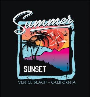Letni zachód słońca do druku