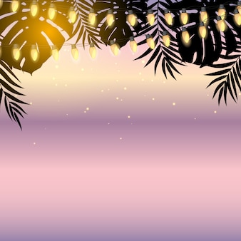 Letni zachód słońca z liśćmi palm i żarówkami z żółtej girlandy. ilustracja