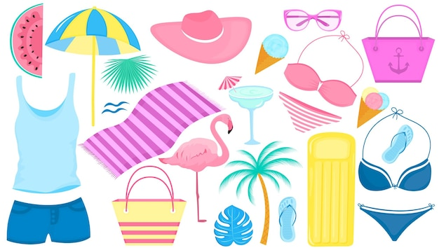 Letni zestaw artykułów dekoracyjnych na wakacje na plaży. kostium kąpielowy, flaming, palma, plasterki arbuza, szklanki, lody, dmuchany salon, koktajl, klapki.