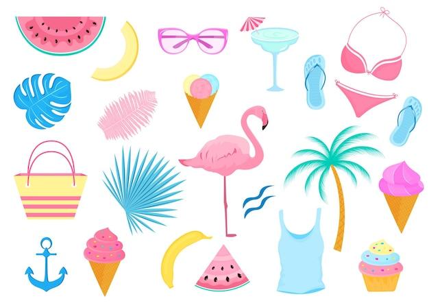 Letni zestaw artykułów dekoracyjnych na wakacje na plaży. kostium kąpielowy, flaming, palma, plasterki arbuza, szklanki, lody.