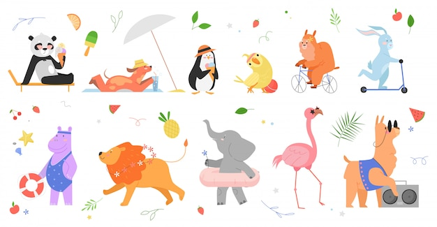 Letni zestaw ilustracji zwierząt. kreskówka ręcznie rysowane zwierzęce kolekcja ze szczęśliwymi postaciami zwierząt w zoo cieszącymi się latem, panda pingwin papuga zając pies lama hipopotam lew słoń flaming