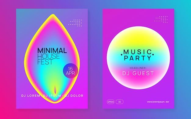 Letni zestaw muzyczny. dźwięk elektroniczny. nocne wakacje w stylu życia. płynny holograficzny kształt i linia gradientu. futurystyczny układ banera klubu techno. plakat festiwalu i ulotka na letnią muzykę.