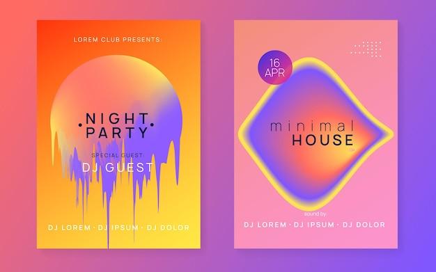 Letni zestaw muzyczny. płynny holograficzny kształt i linia gradientu. dźwięk elektroniczny. nocne wakacje w stylu życia. minimalny układ broszury koncertu disco. plakat festiwalu i ulotka na letnią muzykę.