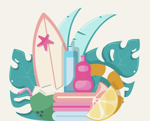 Letni zestaw na wspaniałe wakacje ochrona przed słońcem, surfowanie owoców i dzika przyroda w dżungli