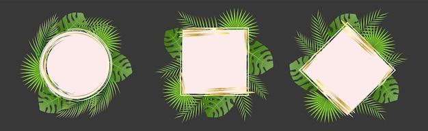 Letni zestaw szablonów postów w mediach społecznościowych z elementami liści palmowych tekstura grunge