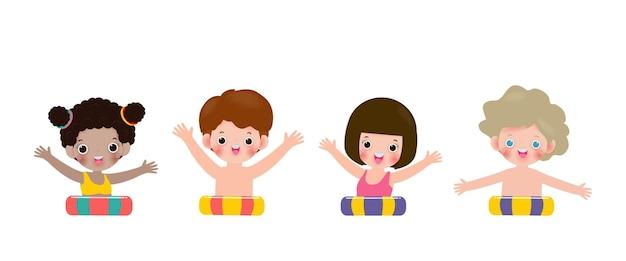 Letni zestaw uroczych dzieci w pływaniu i kreskówce z gumowym pierścieniem