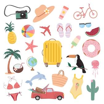 Letni zestaw uroczych elementów, walizka, palma, tukan, stroje kąpielowe, aparat fotograficzny