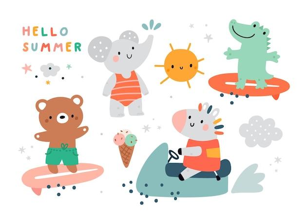 Letni zestaw z uroczymi zwierzętami z kreskówek na plaży i sportowymi ilustracjami