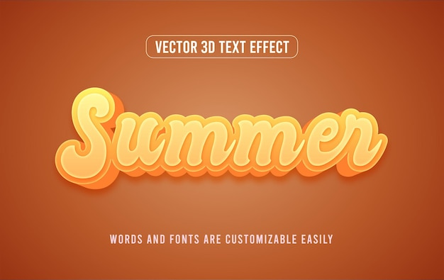 Letni żółty 3d edytowalny efekt tekstowy