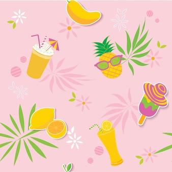 Letni żółty różowy wzór