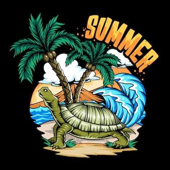 Letni żółw na plaży i drzewie kokosowym z deską surfingową i zmierzchem