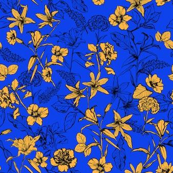 Letni żywy żółty wzór kwiatów botanicznych