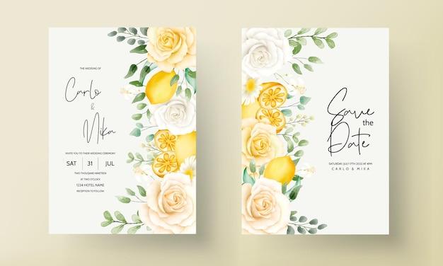 Letnia akwarela kwiatowy z botaniczną kartą ślubną z owocami cytryny