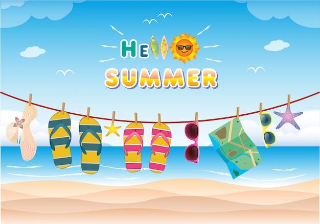 Letnia dekoracja z realistycznymi przedmiotami na plaży. pojęcie sezonowych wakacji w tropikalnym kraju.