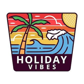 Letnia i wakacyjna odznaka monoline beach, ilustracja logo