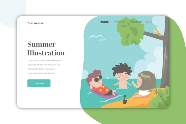 Letnia ilustracja landing page szablon cute caracter