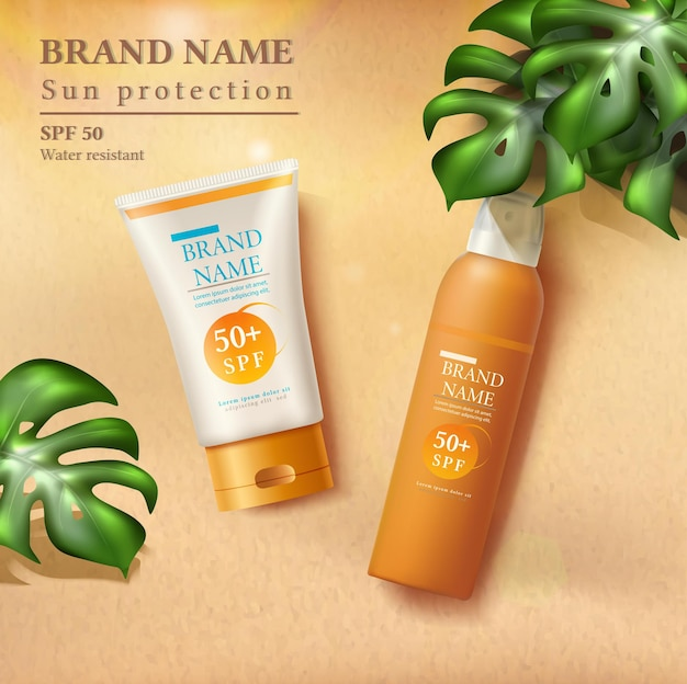 Letnia ilustracja ochrony przeciwsłonecznej z butelkami z filtrem przeciwsłonecznym na piasku z promieniami słonecznymi i tropikalnymi liśćmi