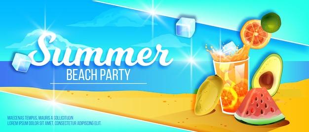Letnia impreza na plaży baner tropikalna wyspa piasek egzotyczne owoce zimne lód napój szkło arbuz