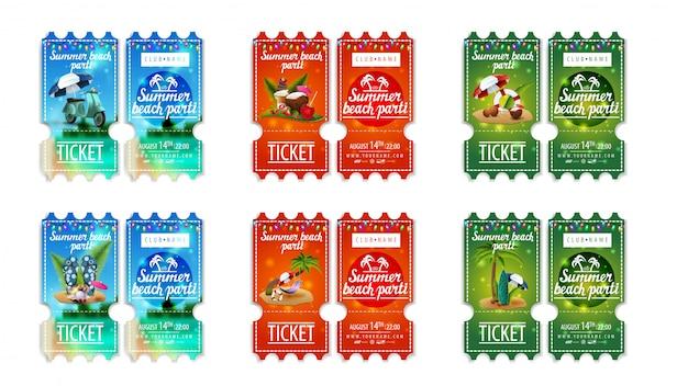 Letnia impreza na plaży, duży zestaw kolorowych biletów na imprezę z letnimi ikonami i girlandami