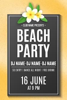 Letnia impreza na plaży. zaproszenie. tropikalny plumeria kwiat na piasek plaży. dj i nazwa klubu. świąteczny plakat. ilustracja
