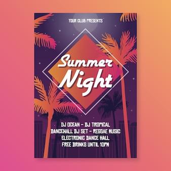 Letnia impreza plakat płaska konstrukcja