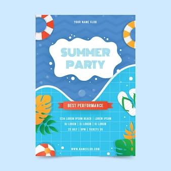 Letnia impreza plakat płaski kształt