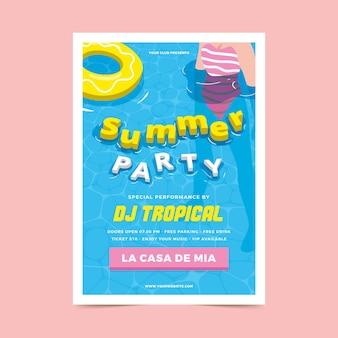 Letnia impreza plakat w płaskiej konstrukcji