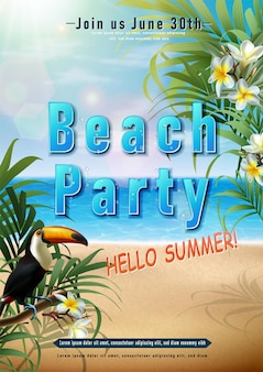 Letnia impreza plakat z egzotycznymi kwiatami i ptakiem tukan orientacja pionowa