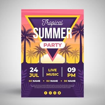 Letnia impreza plakat z tropikalnymi drzewami