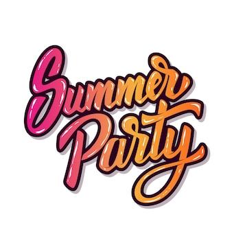 Letnia impreza. ręcznie rysowane frazę literowanie na białym tle. element plakatu, ulotki. ilustracja