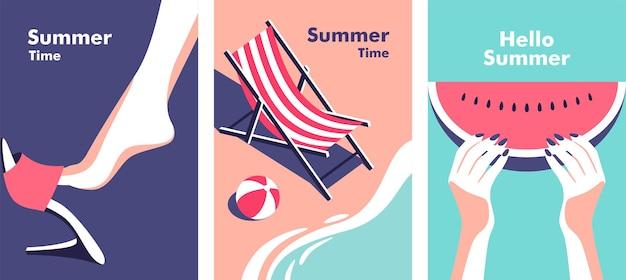 Letnia impreza wakacje i koncepcja podróży ilustracja wektorowa w minimalistycznym stylu