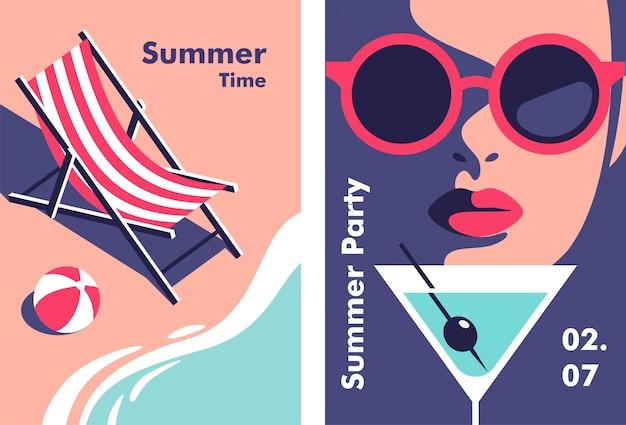Letnia impreza wakacje i koncepcja podróży ulotki lub plakatu w minimalistycznym stylu